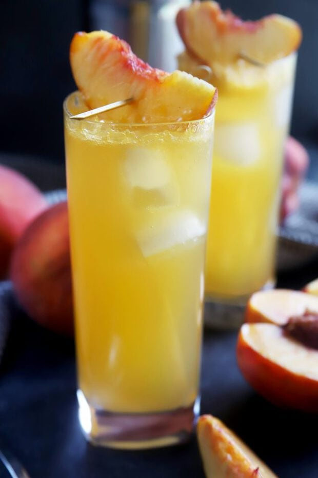 Side photograph of cocktails with peaches