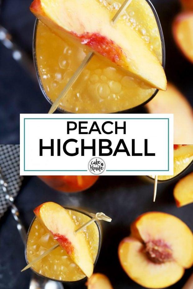 Peach highball cocktail Pinterest image