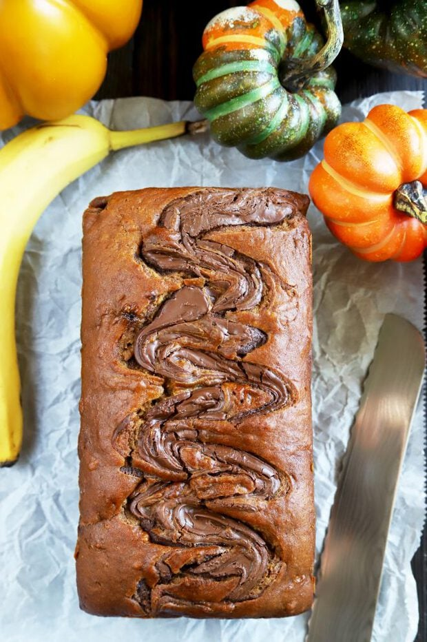Full loaf of banana bread with pumpkin and nutella