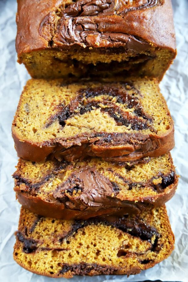 Sliced pumpkin bread with Nutella