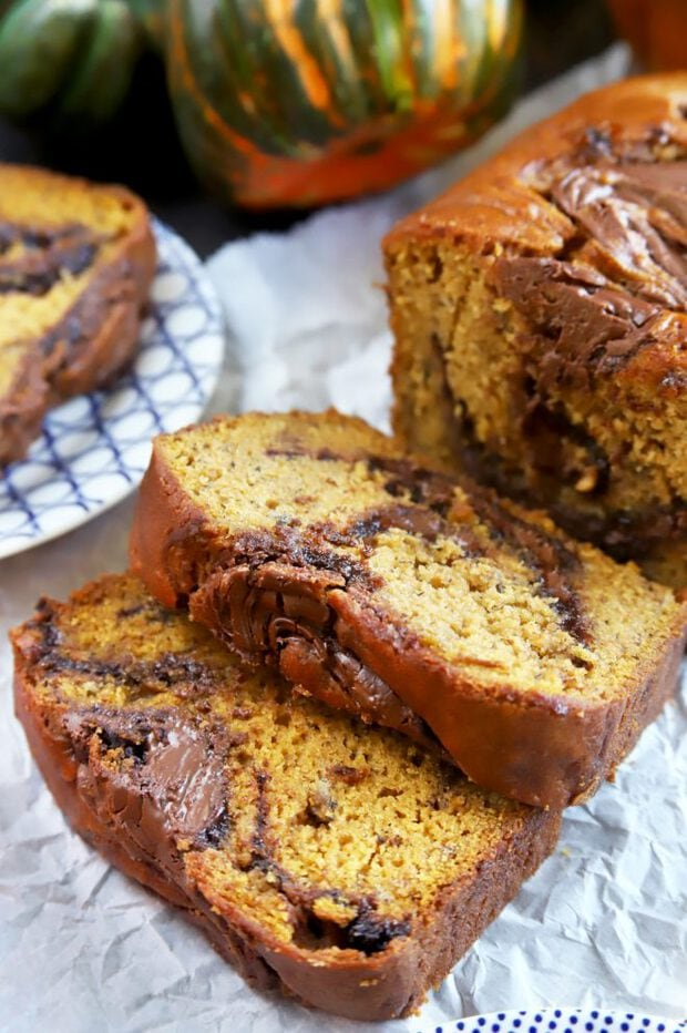 Slices of freshly baked banana bread
