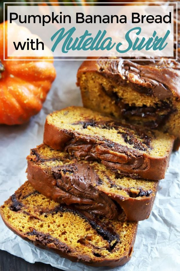 Pinterest image of pumpkin banana bread