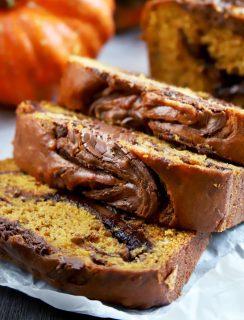 Thumbnail image of pumpkin banana bread with nutella swirl