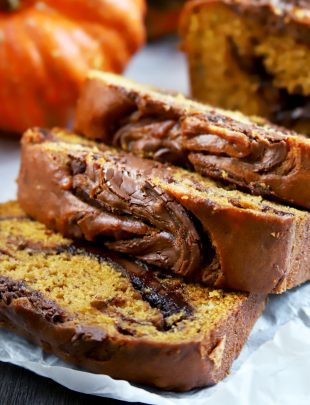 Thumbnail image of pumpkin banana bread with nutella swirl