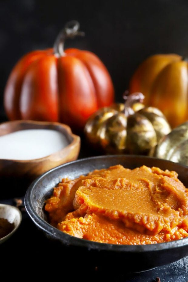 Pumpkin puree with pumpkins in the background