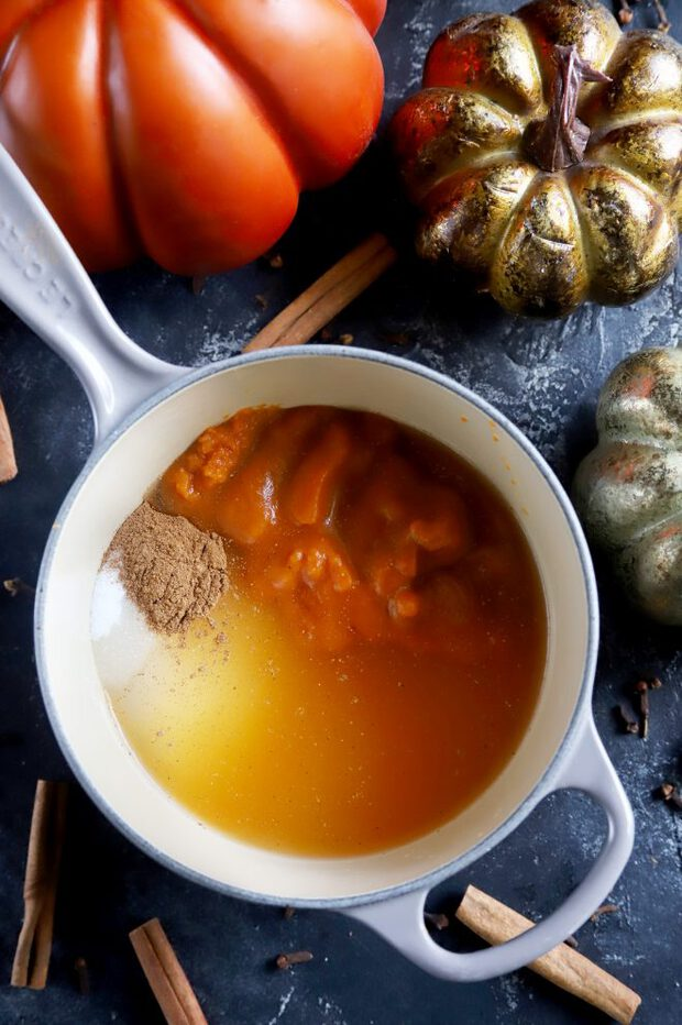 Making simple syrup with pumpkin, spices, and sugar