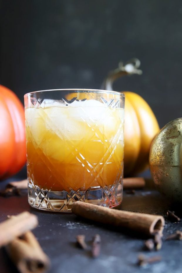 Pumpkin spice cocktail in an old fashioned glass