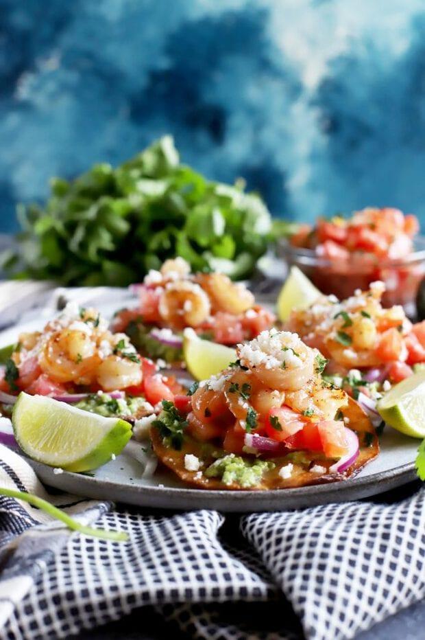 Side view of shrimp tostadas