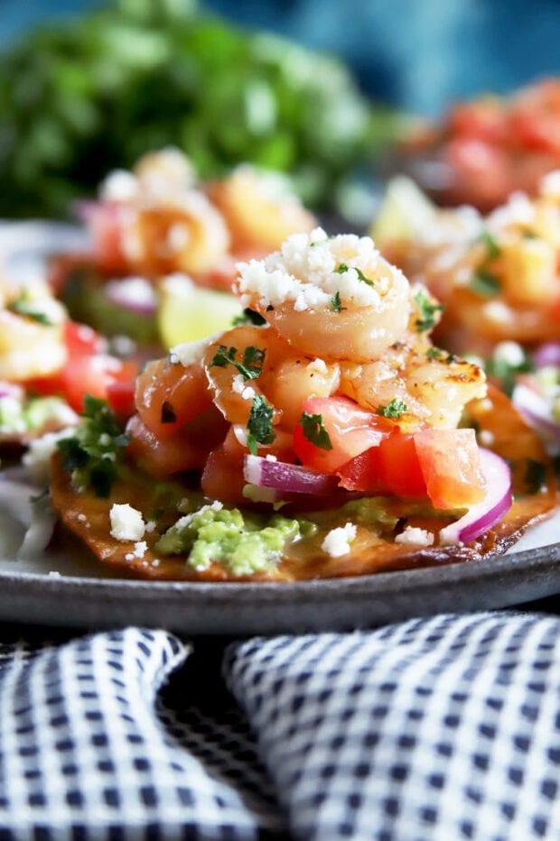 Side picture of shrimp tostadas