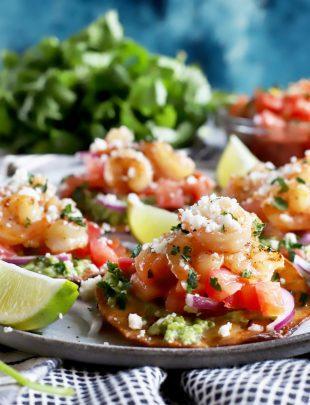 Thumbnail image of honey lime shrimp tostadas