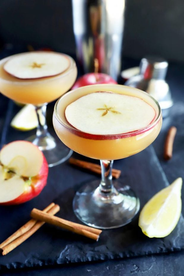 Apple cider whiskey sidecar cocktail in glasses