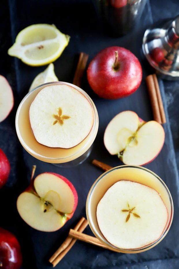 Two cocktails with whiskey and apple for fall