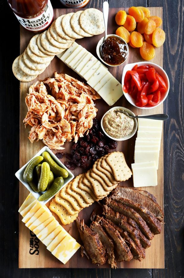 Charcuterie board with BBQ meats