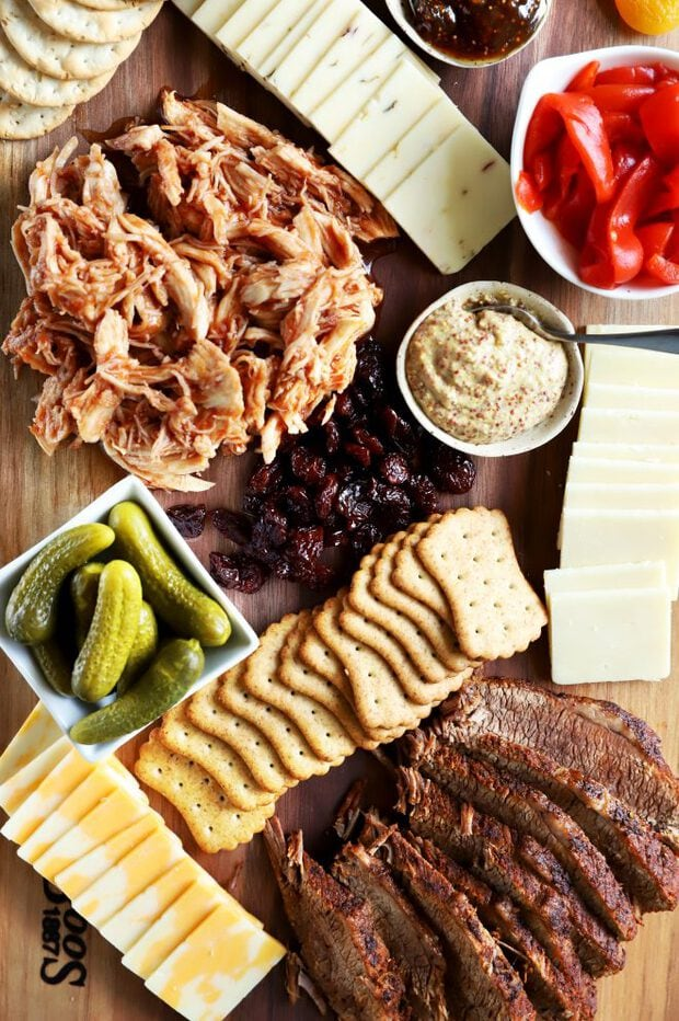 Cheese, crackers and BBQ meats