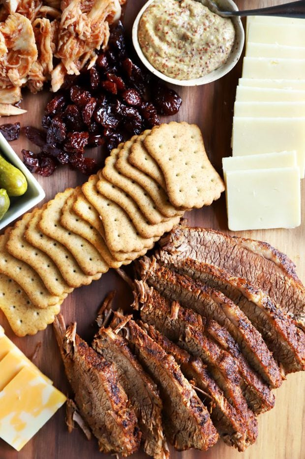 Crackers, cheese, and meat