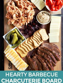Hearty barbecue charcuterie board Pinterest image