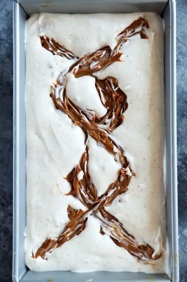 Homemade no churn ice cream with dulce de leche
