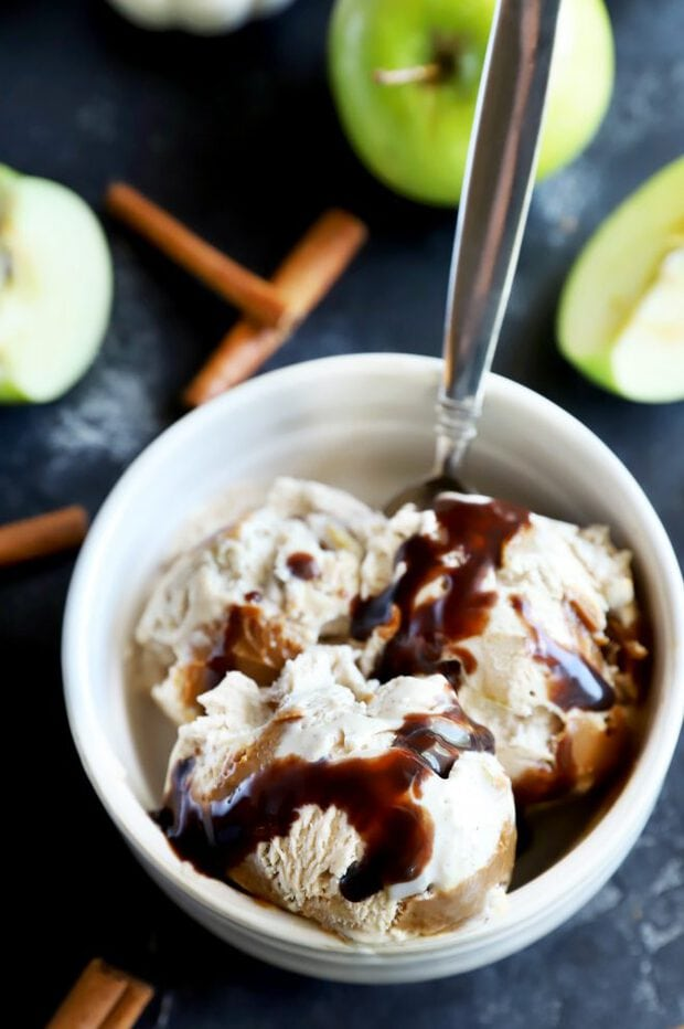 Ice cream in a bowl with chocolate sauce