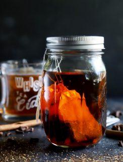 Infusing bourbon in a mason jar