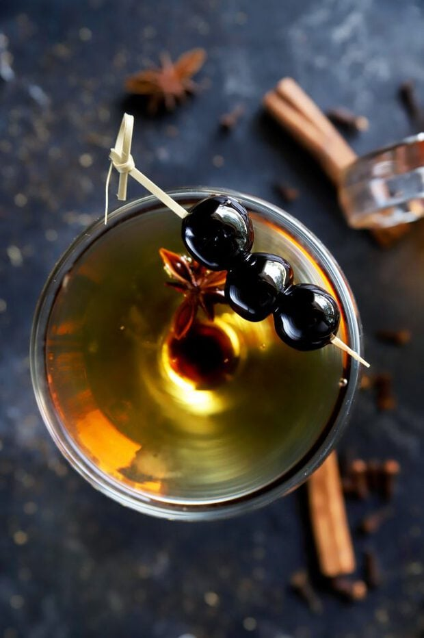 Manhattan cocktail with chai bourbon