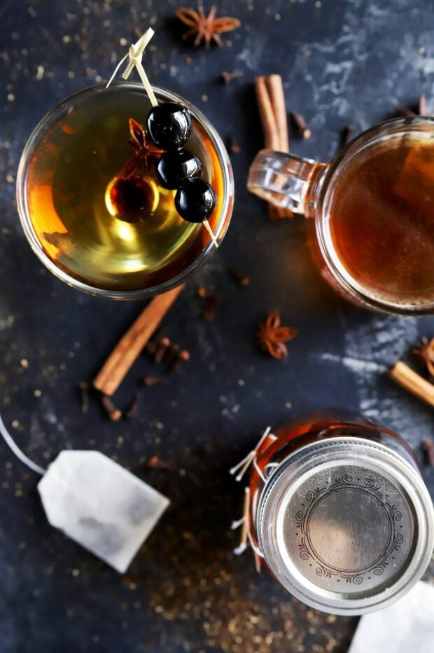 Infusing bourbon with chai tea with a Manhattan