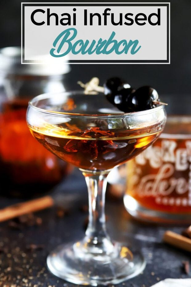 Pinterest image of chai infused bourbon