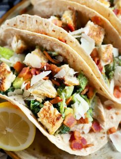 Thumbnail image of charred caesar salad chicken tacos