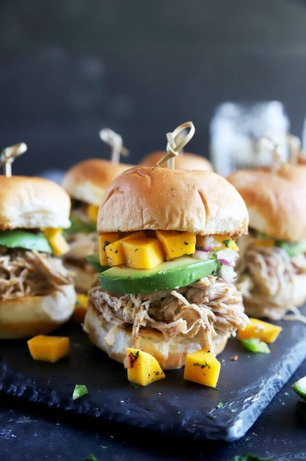 Jerk chicken sliders with mango salsa and avocado