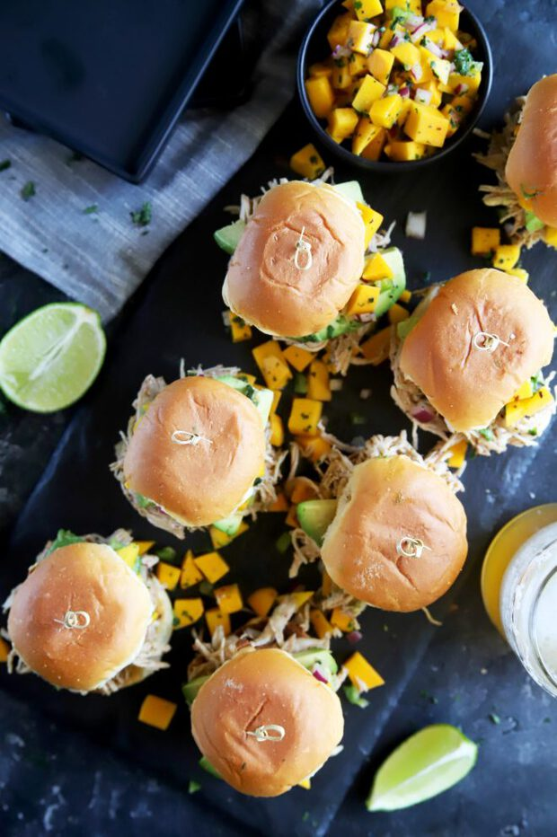 Chicken sliders with avocado and mango salsa