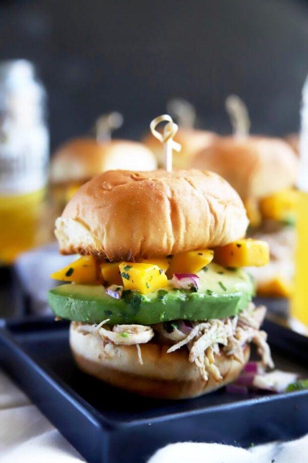 Chicken sandwiches with mango salsa