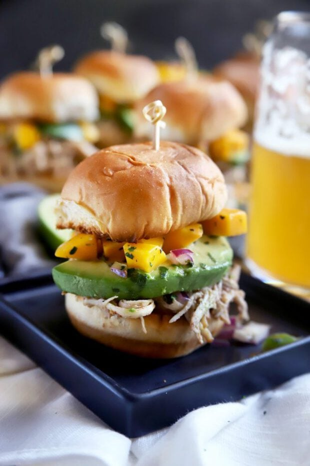 Game day party sliders with beer