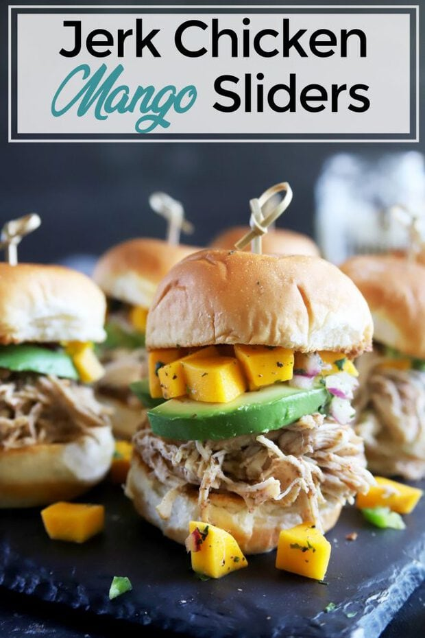Jerk chicken sliders with mango salsa and avocado Pin image