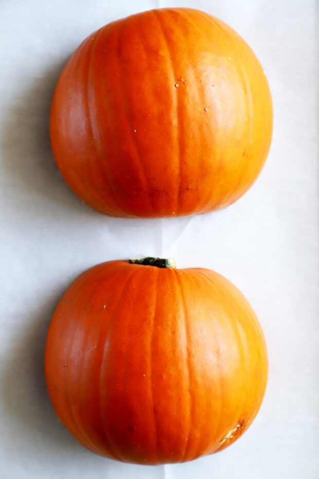 Pie pumpkin halves ready to bake