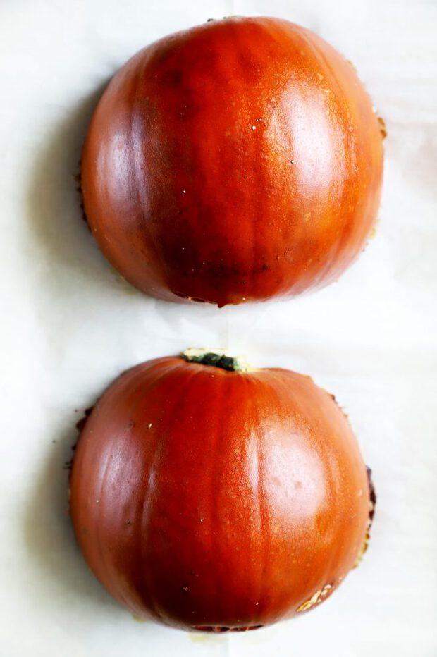 Pie pumpkin halves baked