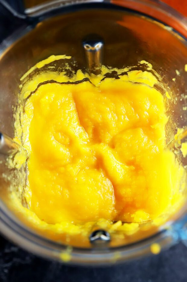 Pumpkin being processed in a Vitamix