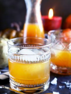 Side photograph of fall cocktails with bourbon