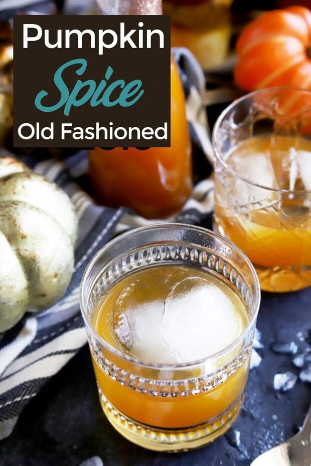 Pinterest image of pumpkin spice old fashioned