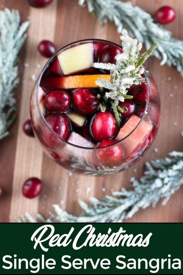 Single Serve Red Christmas Sangria Pinterest Image