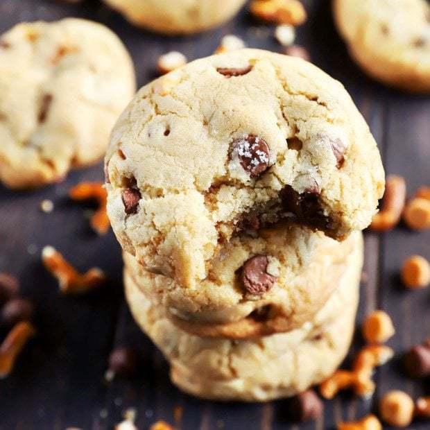 Salted Caramel Butterscotch Cookies with Pretzels