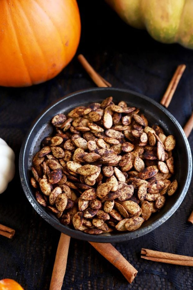 Roasted spiced pumpkin seeds in a bowl