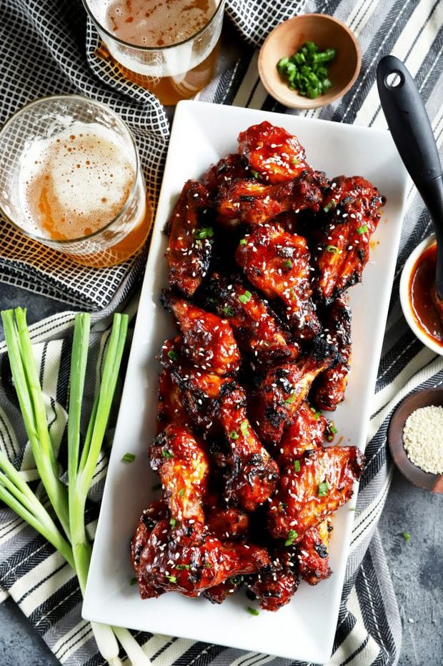overhead photo of a plate of Korean BBQ chicken wings
