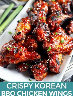 Crispy Korean BBQ Chicken Wings Pinterest Image