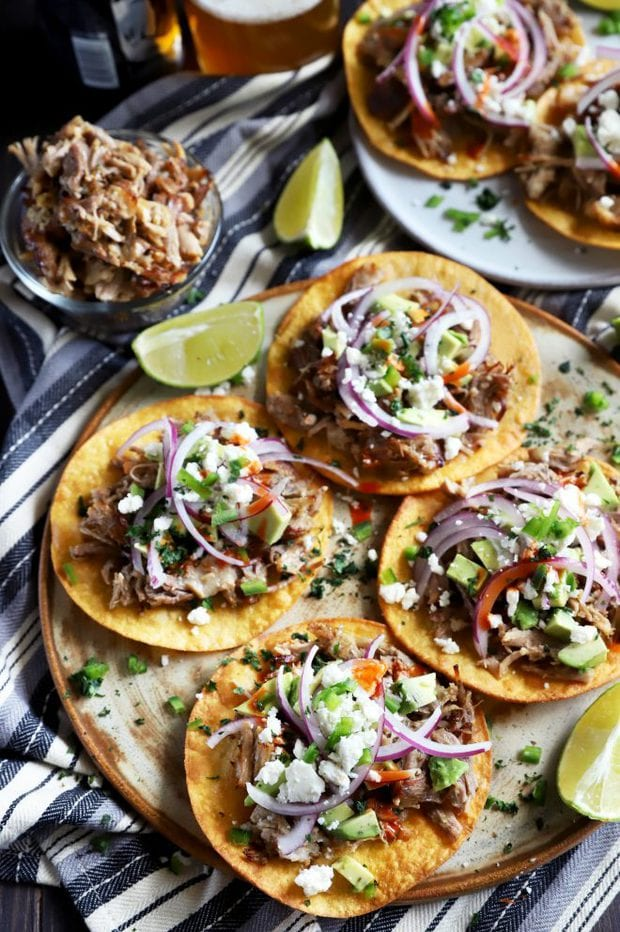 Pork tostadas topped with lots of toppings
