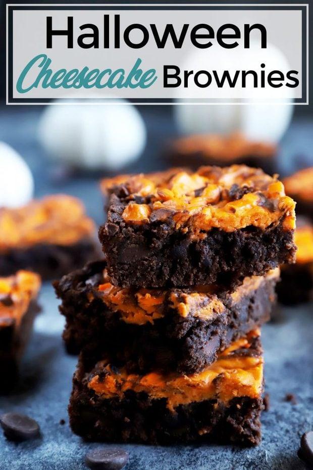 Halloween cheesecake brownies Pinterest image