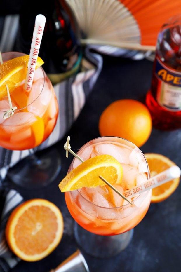 Aperol spritz cocktails in wine glasses