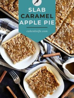 Slab Caramel Apple Pie with Salted Caramel Sauce Pinterest Image