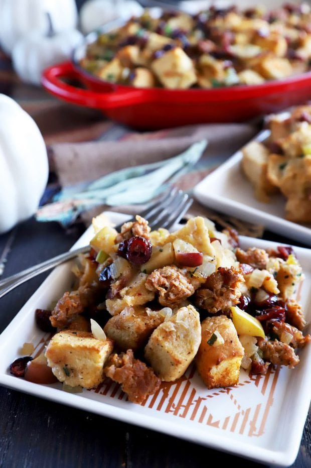 Plate of stuffing with apples and onions