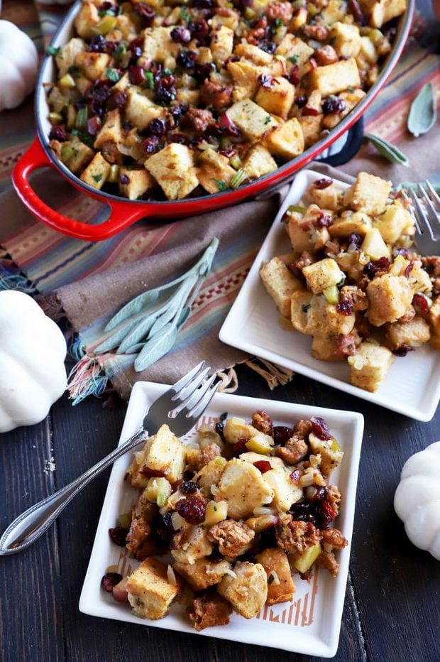 Serving up traditional Thanksgiving stuffing