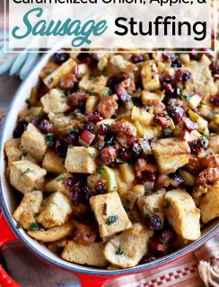 Pinterest image for caramelized onion and apple stuffing