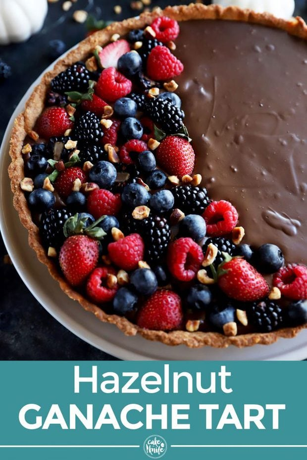 Chocolate Tart with Hazelnut Crust Pinterest Image